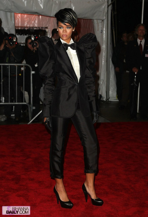 Pushing the tuxedo to the edge: Rihanna wears the cropped satin stripe well.