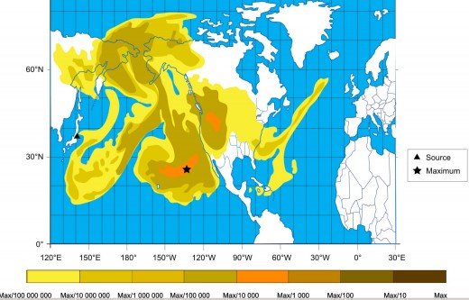 "France Weather modeling of the dispersion of radioactive releases into the atmosphere on a global scale due to the ""Draco Kill Shot"", March 20, 2011."