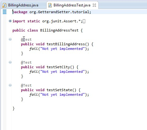 "The ""stub"" code for the JUnit test program at the end of the previous tutorial."
