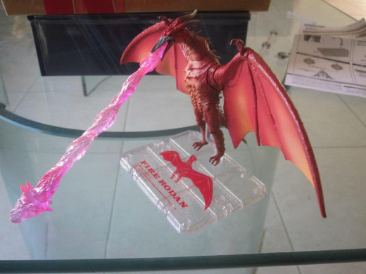SH MonsterArts Fire Rodan with its uranium heat beam and other accessories.