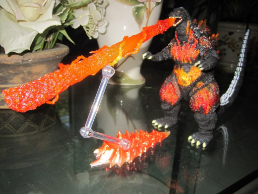 The SH MonsterArts Godzilla (1995) with an atomic ray accessory (which came with other accessories from SH MonsterArts Fire Rodan.