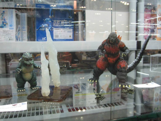 SH MonsterArts figures on display.