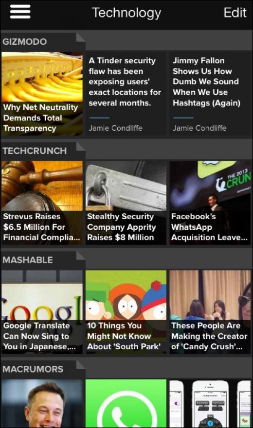 Pulse news feed app