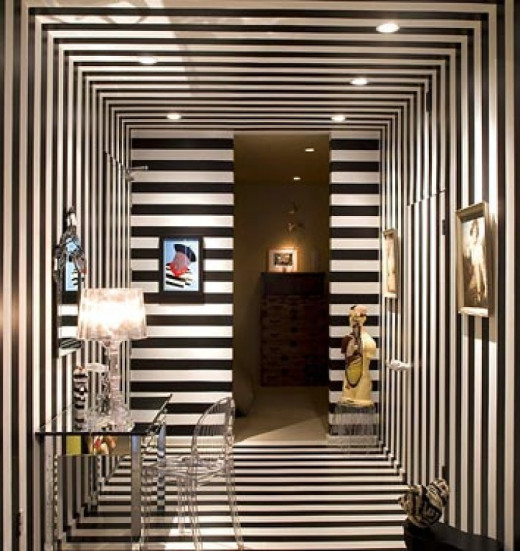 over the top striped walls in black and white