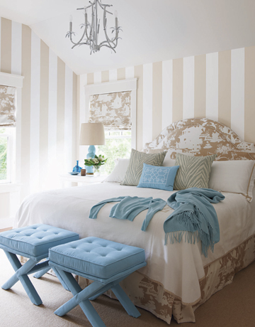 striped walls in a bedroom