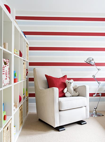 vibrant red and horizontal white striped walls