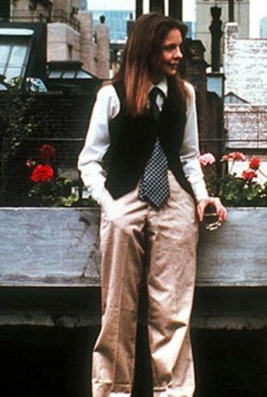 Diane Keaton, wearing her own wardrobe in 'Annie Hall,' epitomizes the relaxed feel of the tomboy style.
