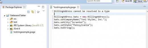 Because tthe scrapbook code exists outside the package, the BillingAddress class is unknow. When we run this example, the message indicates that the class cannot be resolved.