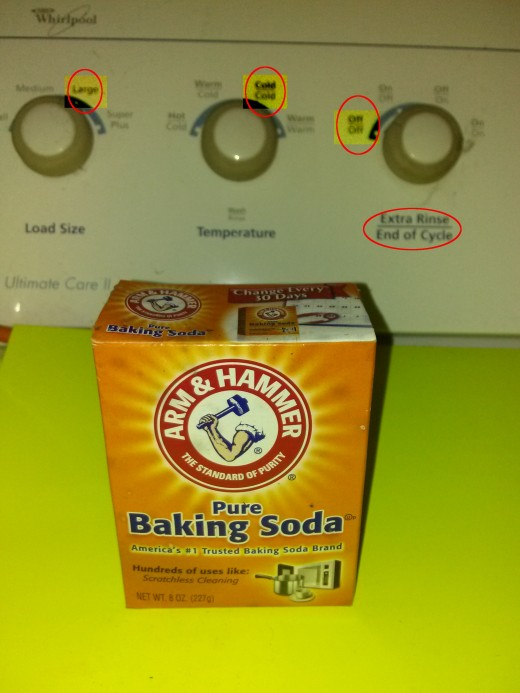 A few visual reminders, baking soda is your friend, do large loads, cold water, and no extra rinse cycle.