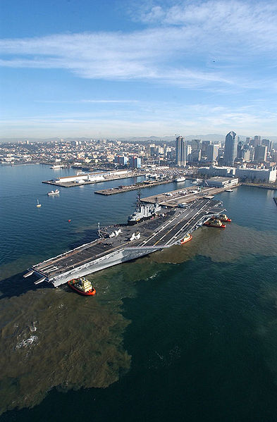 The decommissioned USS Midway prepares to moor at its final resting place at the Navy pier in San Diego, California.