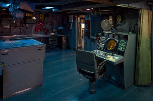 The control room on the USS Midway was photographed by Tenji on April 26, 2009.
