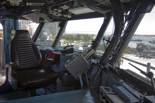 The captain's seat on the USS Midway was photographed by Tenji on April 26, 2009.