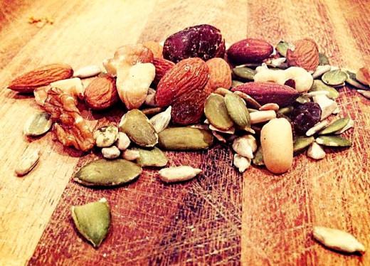 Homemade trail mixes can be very healthy, but portion size must be restricted as these foods have high calories.