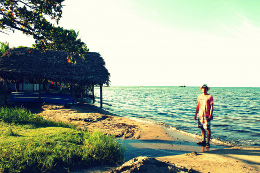 On the beach at Livingston looking out to Amatique Bay and the Caribbean Sea
