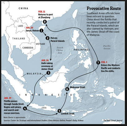 The Chinese flotilla route