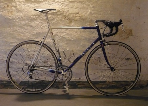 The road race bike is structured for efficiency.