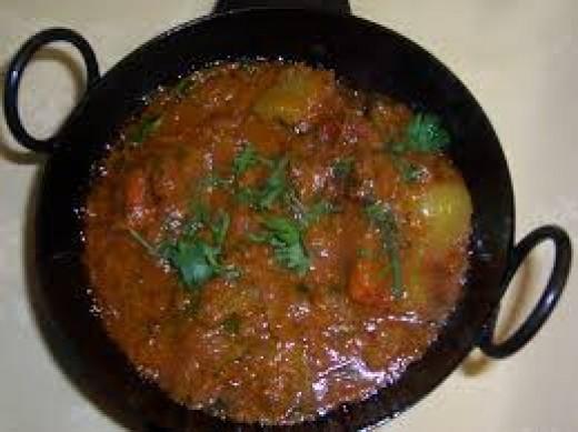 A dupiaza served in a Karahi.
