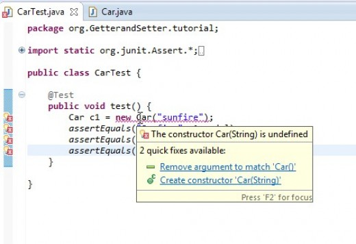 """ECLIPSE's suggestions, Choose the """"Create constructor..."""" option."""