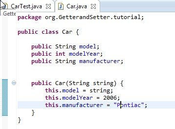 The information in the constructor method corresponds to the values expected in the CarTest.