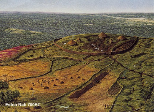 An artist's impression of the Iron Age Hill Fort that dates back to 700 BC, traces of which were found near the Nab at the top of the escarpment. Find out more from FOEH