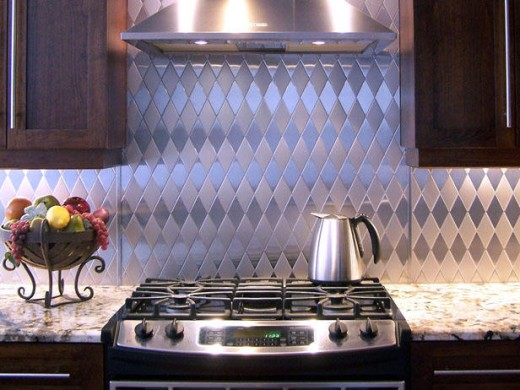 Textured Stainless Steel Kitchen Backsplash
