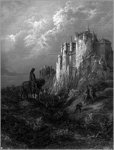 """Gustave Doré's illustration of Camelot from """"Idylls of the King"""", 1868."""