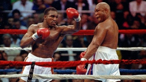 Evander Holyfield counter punched George Foreman all night with counter hooks and uppercuts. Round 7 of their bout was named as Round of the Year.