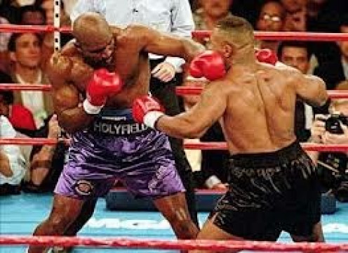 Mike Tyson and Evander Holyfield have been house fighters for Showtime and HBO. The two fought twice with Holyfield winning both bouts.