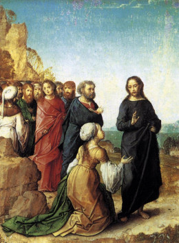 """""""Christ and the Caananite Woman"""" - oil on panel - by artist Juan de Flandes (1416-1519)"""