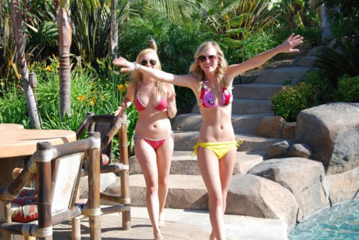 Britt Robertson (on the right) getting free vitamin D from sunlight. She was the star of the TV series Life Unexpected and was in the great movie called Avalon High.