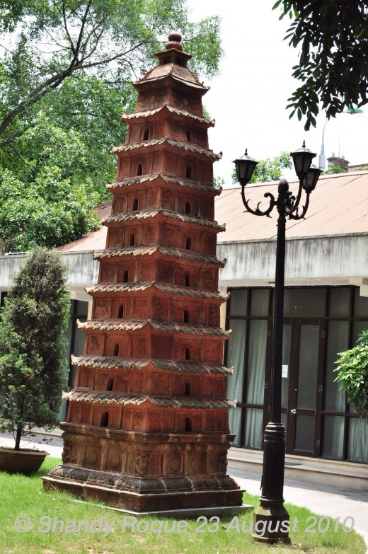 A pagoda model on the National History Museum grounds in Hanoi, Vietnam