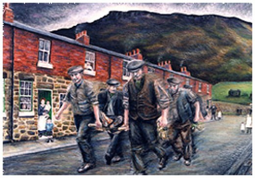 'Widows Row', painting by Craig Hornby available from pancrack tv blog site shows men bringing a fatality down from the mines - Eston men were brought this way, California men through Eston to the hospital on the main road.