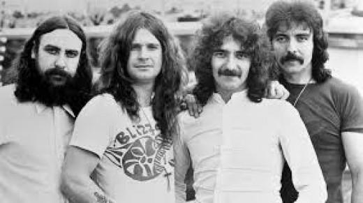 Black Sabbath original line up of Bill Ward, Ozzy Osbourne, Geezer Butler and Tony Iommi.