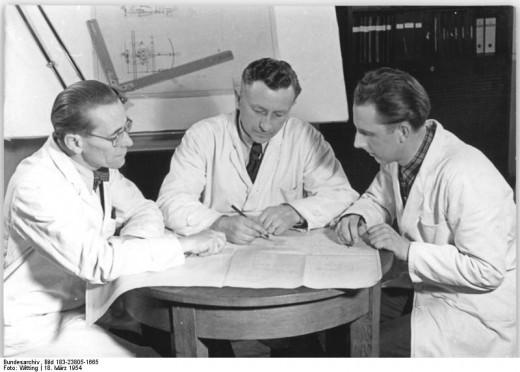 Engineers devising the prototype.