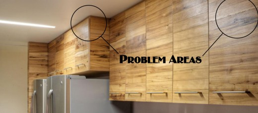 High end hickory cabinets with obvious problems