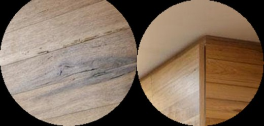 Blowup on the left shows a poor choice since the lumber has wane showing. Blowup on the right shows where the wood is warped and pulling away from the cabinet frame.