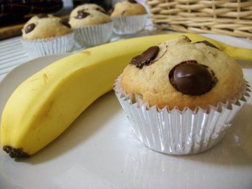 Banana Chocolate Chip Muffins (Dairy-Free and Vegan) by Om Paramapoonya