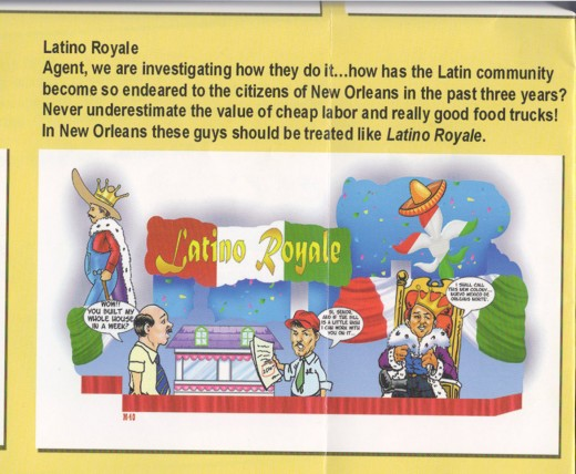 The same Casino Royale float as shown in their newspaper handout. The parade goes by too quickly to pickout all of the details, so it's great to go back and review all the jokes later!