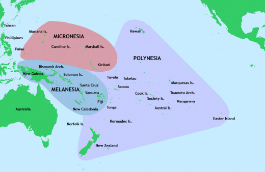 Picture illustrating the different cultures of Oceania.