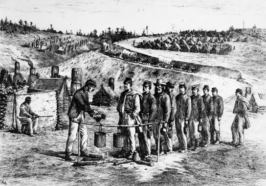 Sketch - Troops line up to draw rations