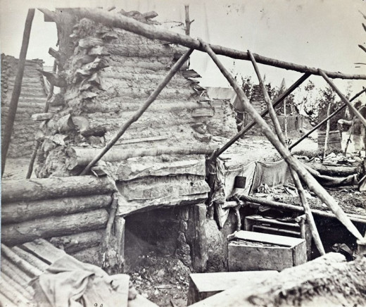 Abandoned log hut after the commencement of a new campaign