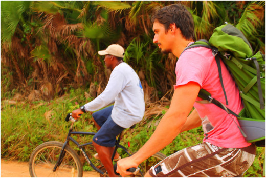 Andy and Neil riding to drumming lessons