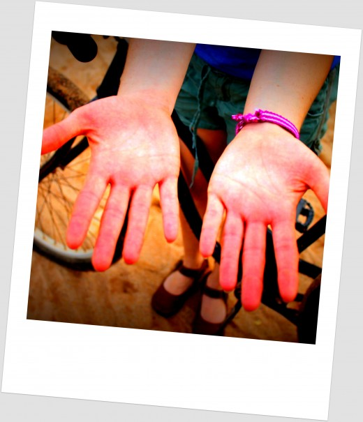 After drumming hands