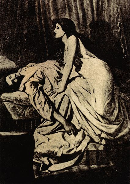 The Vampire, lithograph by R. de Moraine 1864