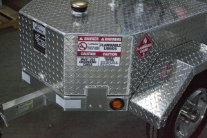 A close up look at a portable fuel trailer.