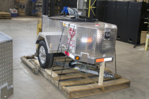 A fuel trailer ready to be shipped.