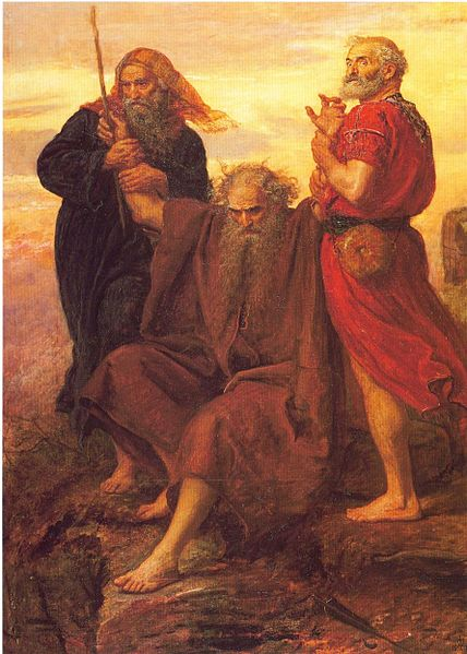 Victory O Lord- A painting of Moses holding his hands up being helped by Aaron and Hur. This work is in the public domain in the United States because it was published (or registered with the U.S. Copyright Office) before January 1, 1923.