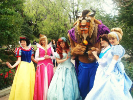Disney Princesses and beast at Disneyland