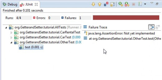 "Run the test suite. Note that one of the tests failed. This summary show the test is ""not yet implemented""."