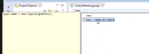 A template for a new object statement is created.